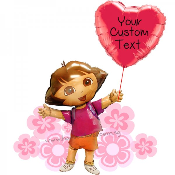 Personalize Dora's Love Balloon Gift