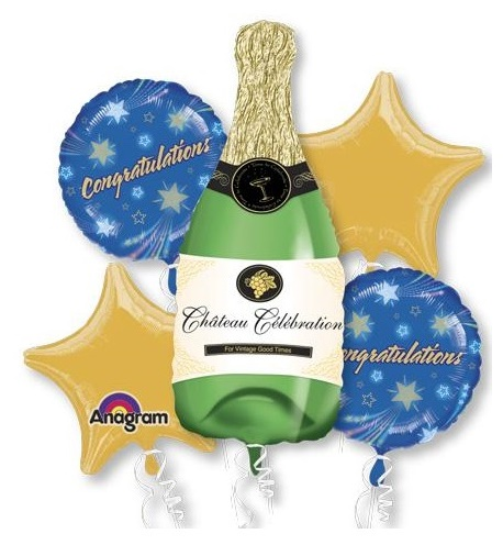 Champagne Bottle Congratulations! Balloon Package