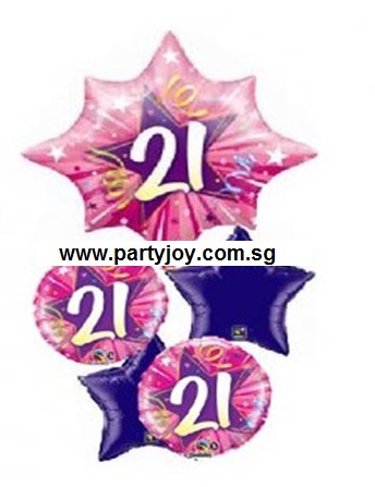 21st Birthday Bright Pink Shining Star Balloon Package