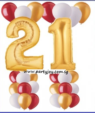 21st Gold Birthday Balloon Value Package