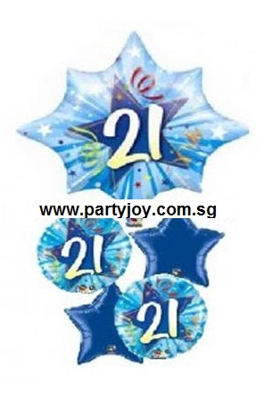 21th Birthday Bright Blue Shining Star Balloon Package