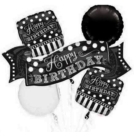 Black & White Chalkboard Birthday Balloon Bouquet