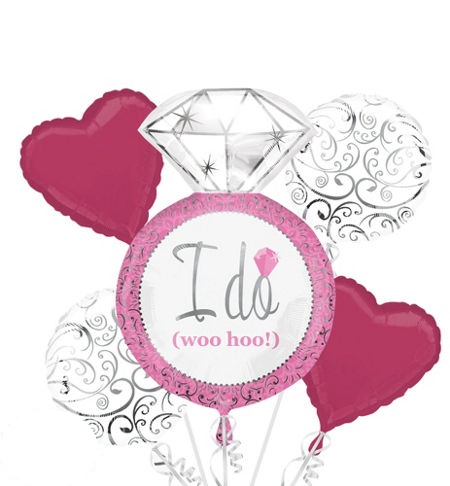 I Do Engagement Diamond Ring (Pink) Balloon Package