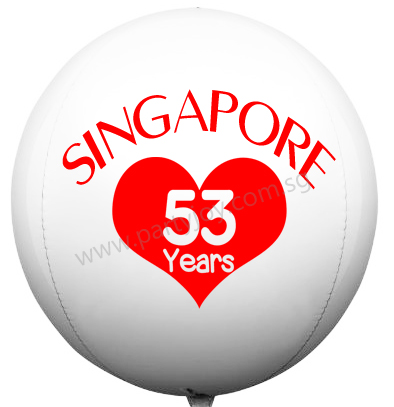 Customize National Day SG53 White ORBZ Balloon