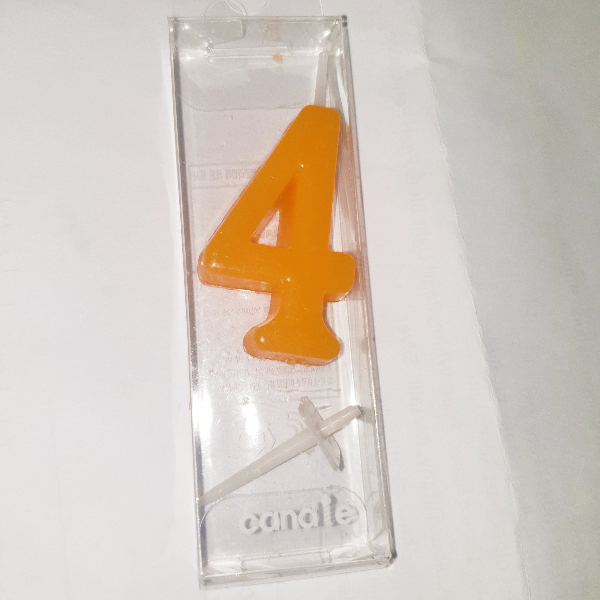 Orange Number 4 Birthday Candle