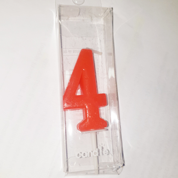 Red Number 4 Birthday Candle