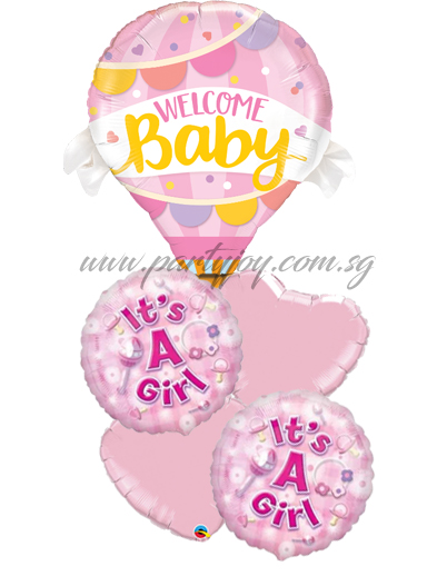 Welcome Baby Pink Hot Air Balloon Package