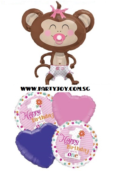 1st Birthday Girl (Monkey) Balloon Package