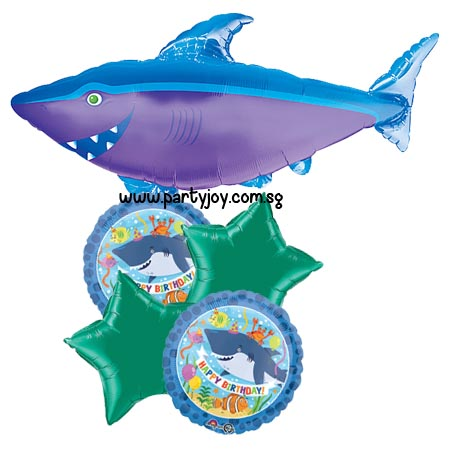 Shark Happy Birthday Round Balloon Bouquet