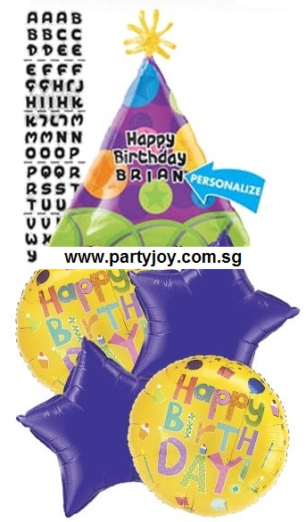 HBD Party Hat Personalise Balloon Package