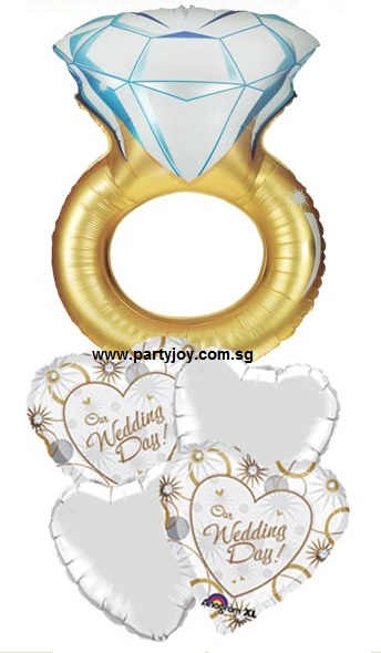 Just Married Diamond Ring Balloon Package
