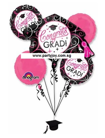 Congrats GRAD Pink Balloon Package