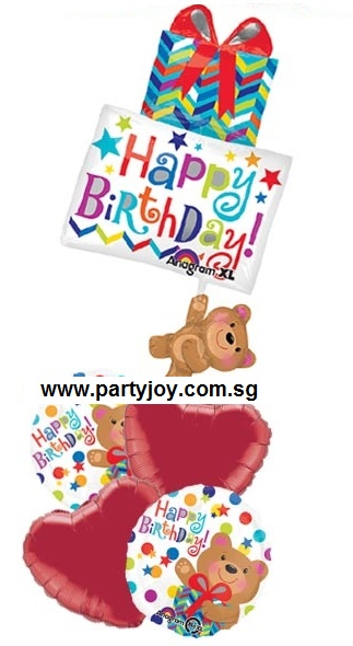 HBD Present with Bear Balloon Package