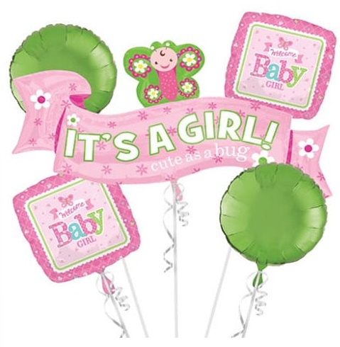 It's A Girl (Cute as a bug) Balloon Package