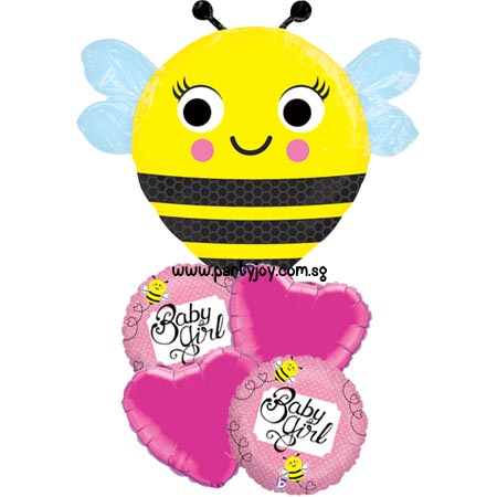 Happy Buzz'n Bee Baby Girl Balloon Package