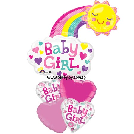 Baby Girl Smiling Sun Rainbow Balloon Package