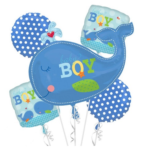 Welcome Baby Boy Blue Whale Balloon Package