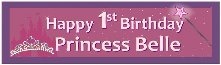 Birthday Princess Castle Customized Banner