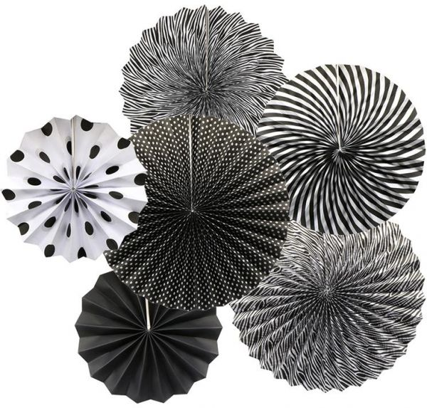 Black and White Themed Paper Fan D I Y Set
