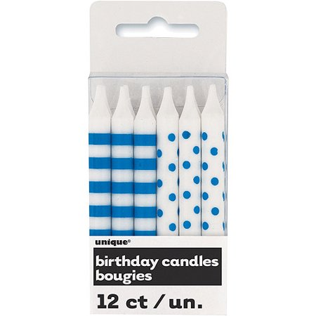 Royal Blue Stripes and Dots Birthday Candles