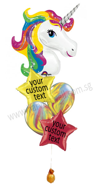 Personalized Rainbow Unicorn Balloon Bouquet
