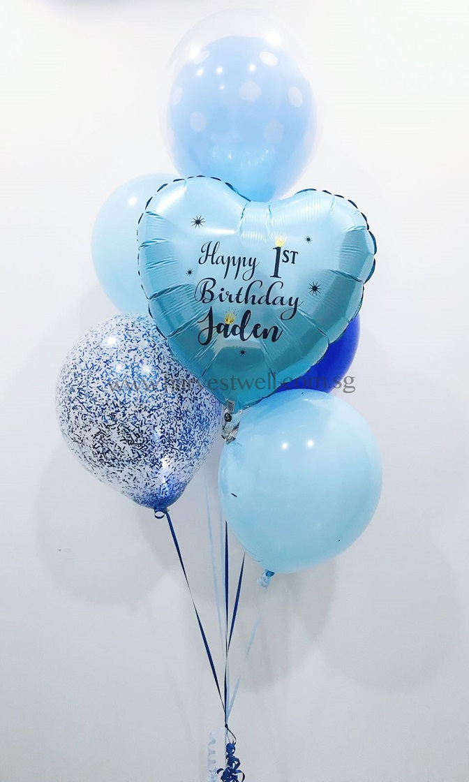 Customize Blue Birthday Balloon Bouquet