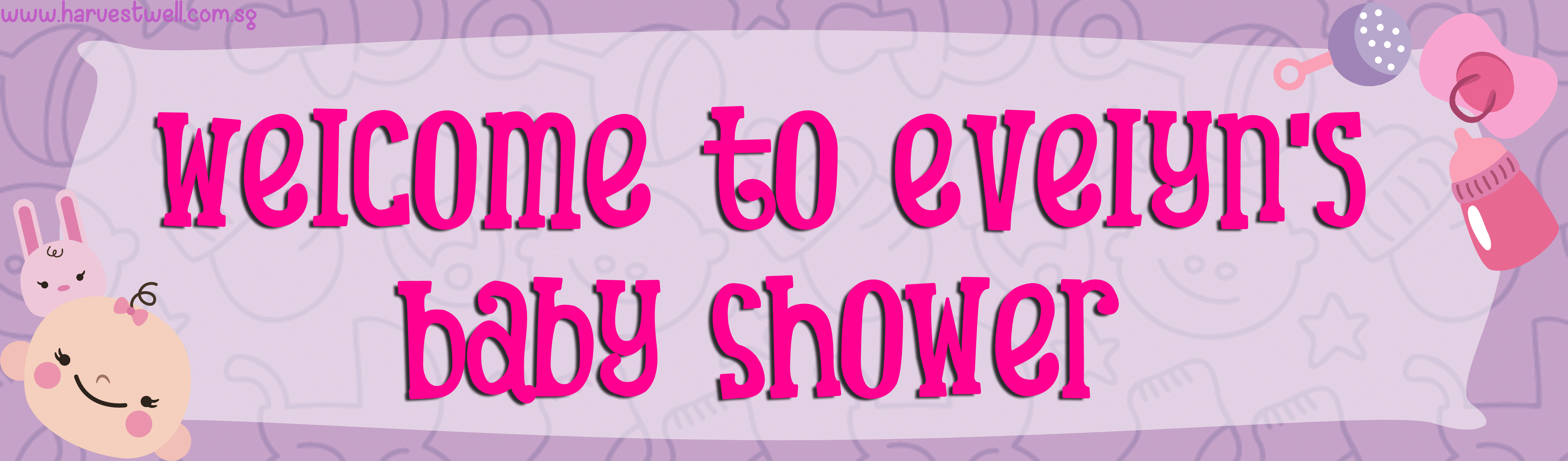 Baby Girl Shower Customized Banner