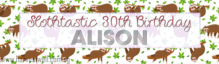 Cute Sloth Birthday Customized Banner