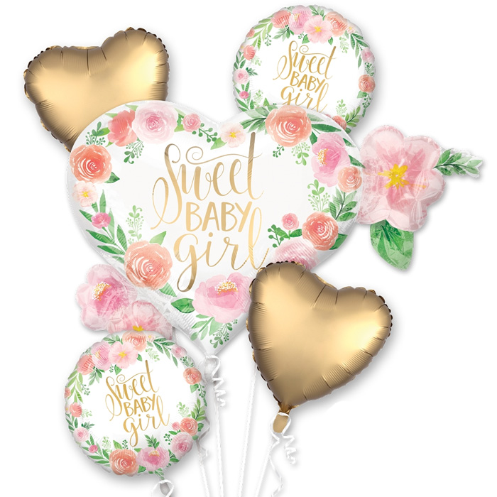 Floral Sweet Baby Girl Balloon Package