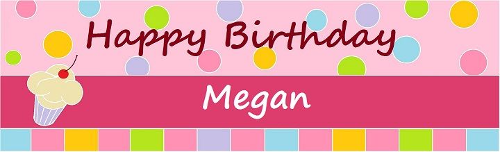 HBD Sweet Cupcake Pink Customized Banner