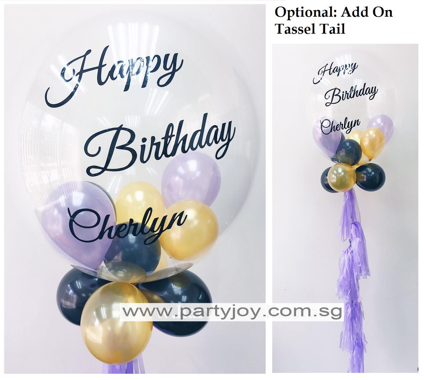 Happy Birthday Customize Print On Bubble Balloon Size 24