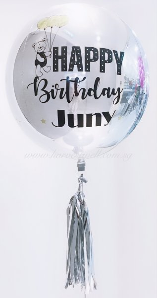 Customize Print Happy Birthday Bear ORBZ Balloon