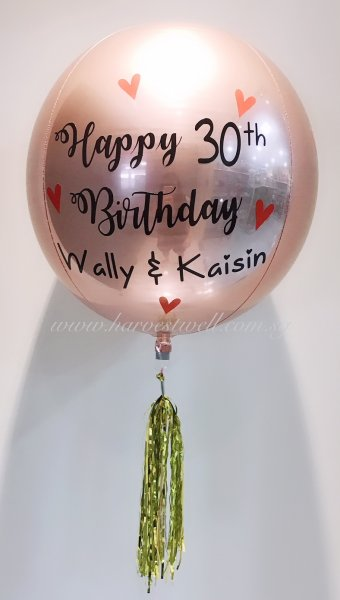 Customize Happy Birthday Red Hearts ORBZ Balloon