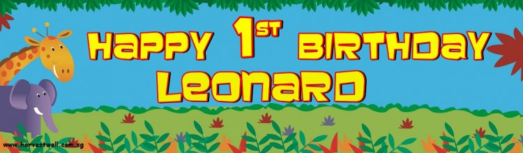 Jungle Animals Birthday Customized Banner