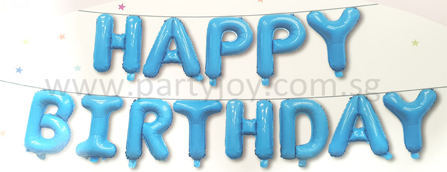 Happy Birthday Light Blue Mini Letter Balloon Set
