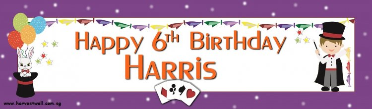 Magician Birthday Celebration Customized Banner