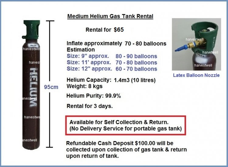 Medium Helium Gas Tank Rental