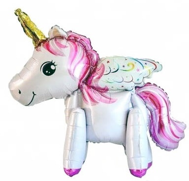Mini Standing Pet Pink Unicorn (Air-filled) Balloon
