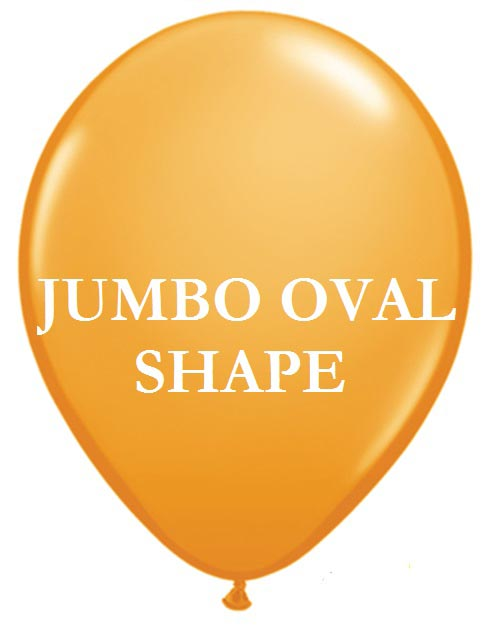 Orange Jumbo Oval Shape Helium Latex Balloon