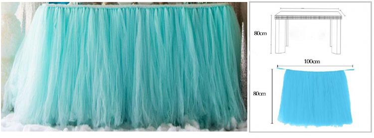 PEACOCK BLUE TUTU TABLE SKIRT