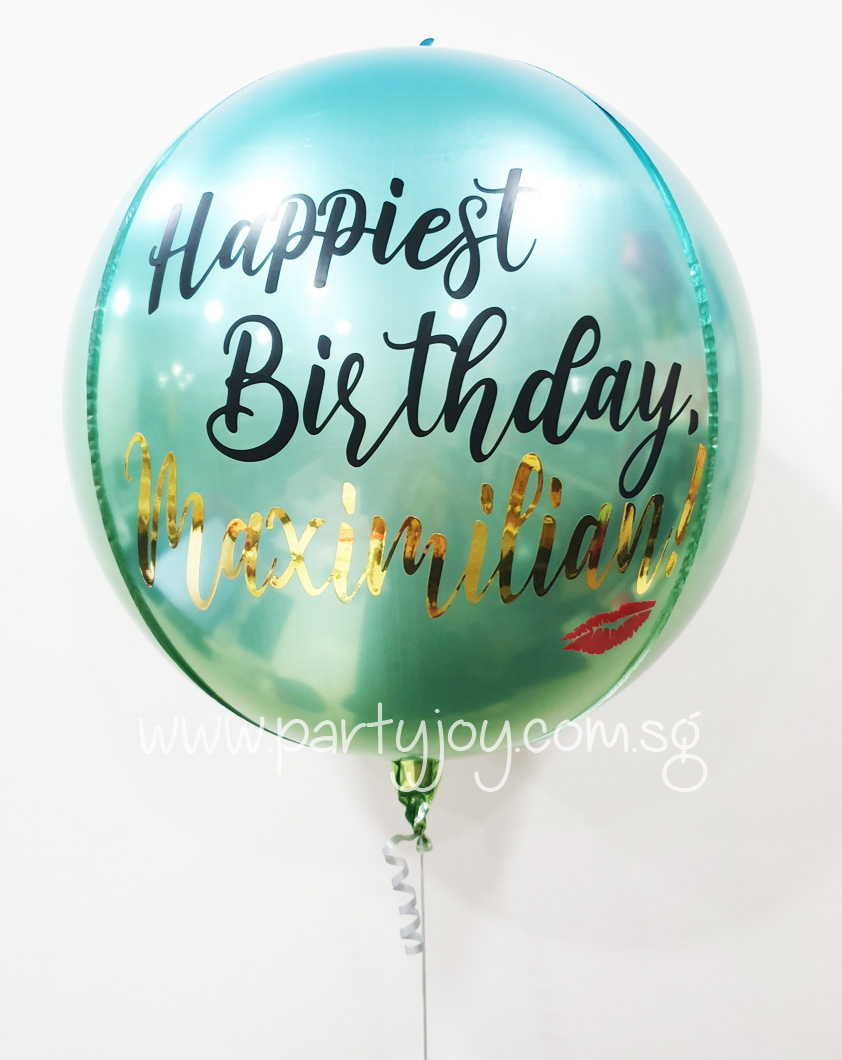 Customised Happy Birthday Kiss Ombre Blue/Green Orbz Balloon