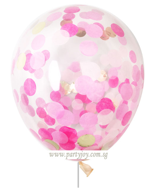 Confetti Helium Latex Balloon (Pink & Rose)