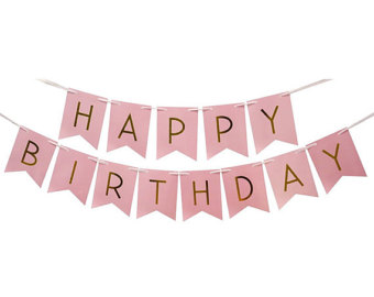 HAPPY BIRTHDAY PINK GLITTER WITH GOLD JOINTED BANNER
