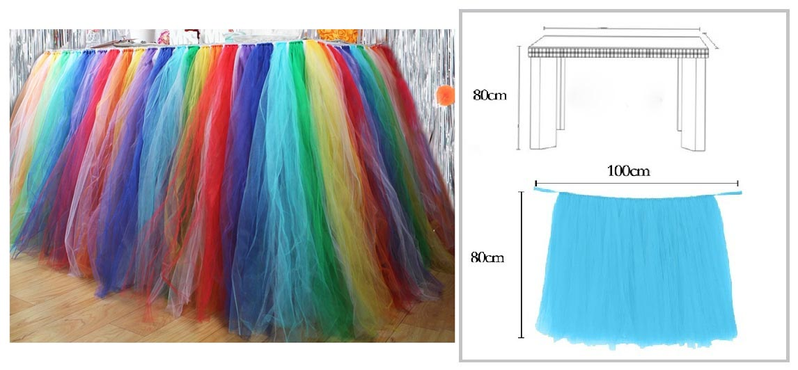 RAINBOW TUTU TABLE SKIRT