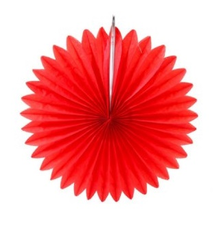 Hanging Paper Fan - Red