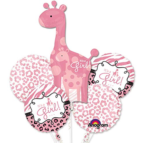 It's a Girl! Pink Giraffe Balloon Bouquet
