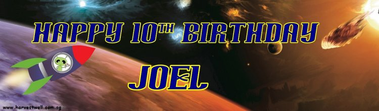 Spaceship Birthday Customized Banner