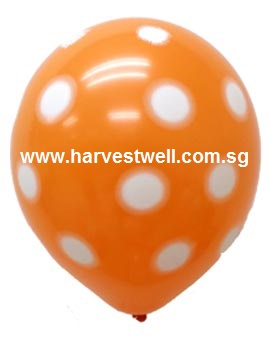 Sprayed Polka Dots (ORANGE) Helium Latex Balloon