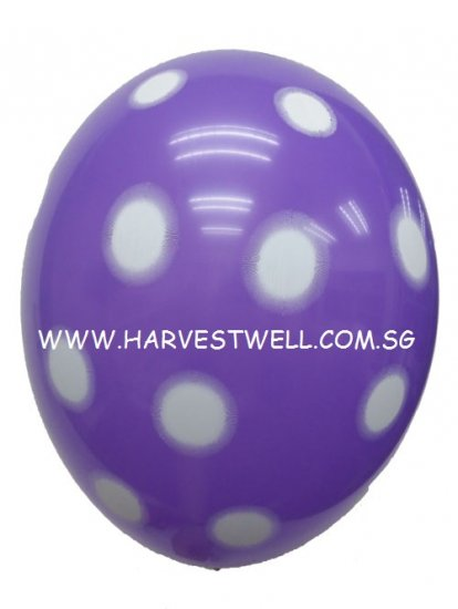 Sprayed Polka Dots (PURPLE) Helium Latex Balloon