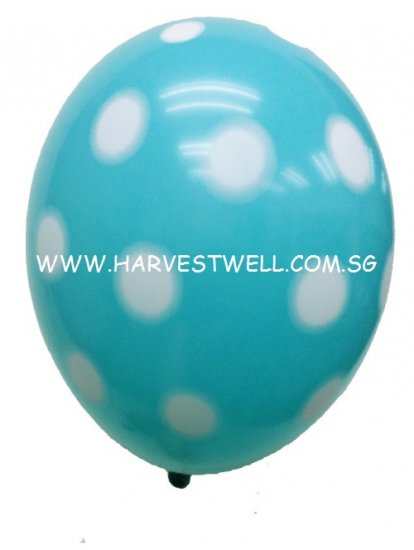 Sprayed Polka Dots (CARIBBEAN BLUE) Helium Latex Balloon